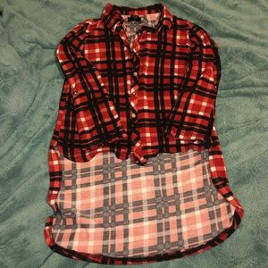 Red, White, and Black High-low Flannel